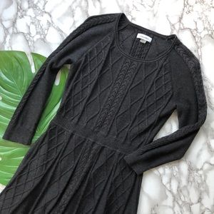 Calvin Klein Long Sleeve Cable Knit Sweater Dress